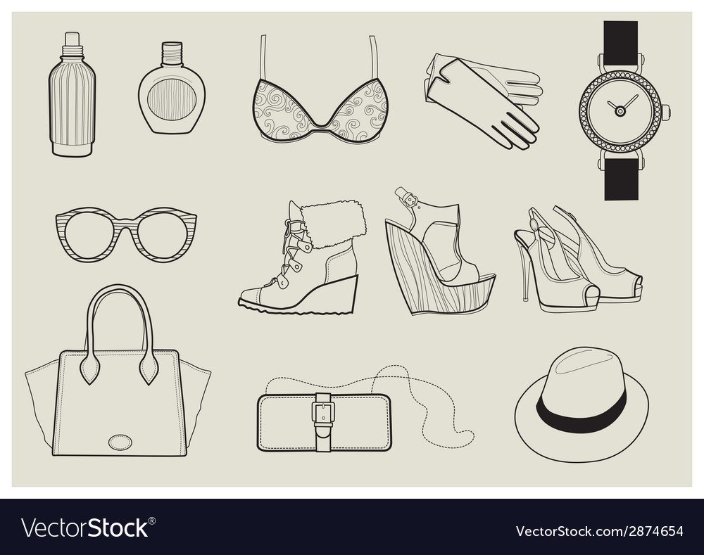 Fashion objects set 1 vector | Price: 1 Credit (USD $1)