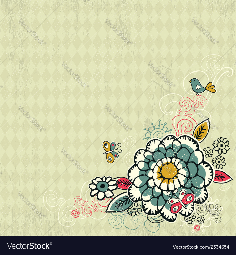 Hand draw flowers on grunge background vector | Price: 1 Credit (USD $1)