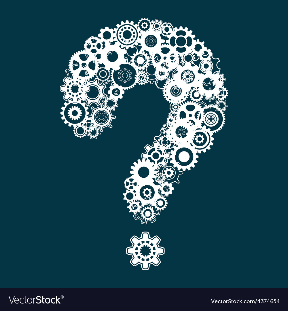 Question mark with cog wheels vector | Price: 1 Credit (USD $1)