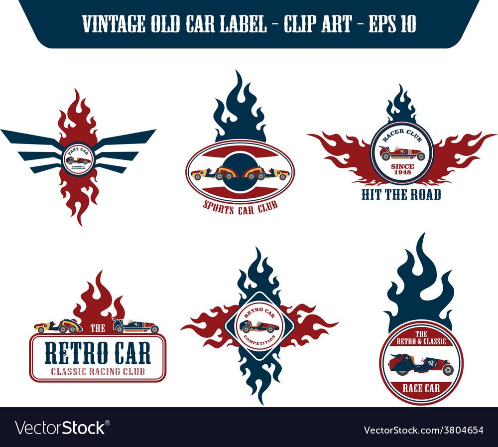 Retro car label sticker vector | Price: 1 Credit (USD $1)