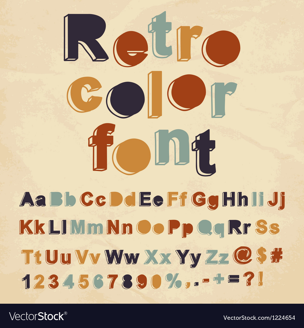 Retro color font vector | Price: 1 Credit (USD $1)