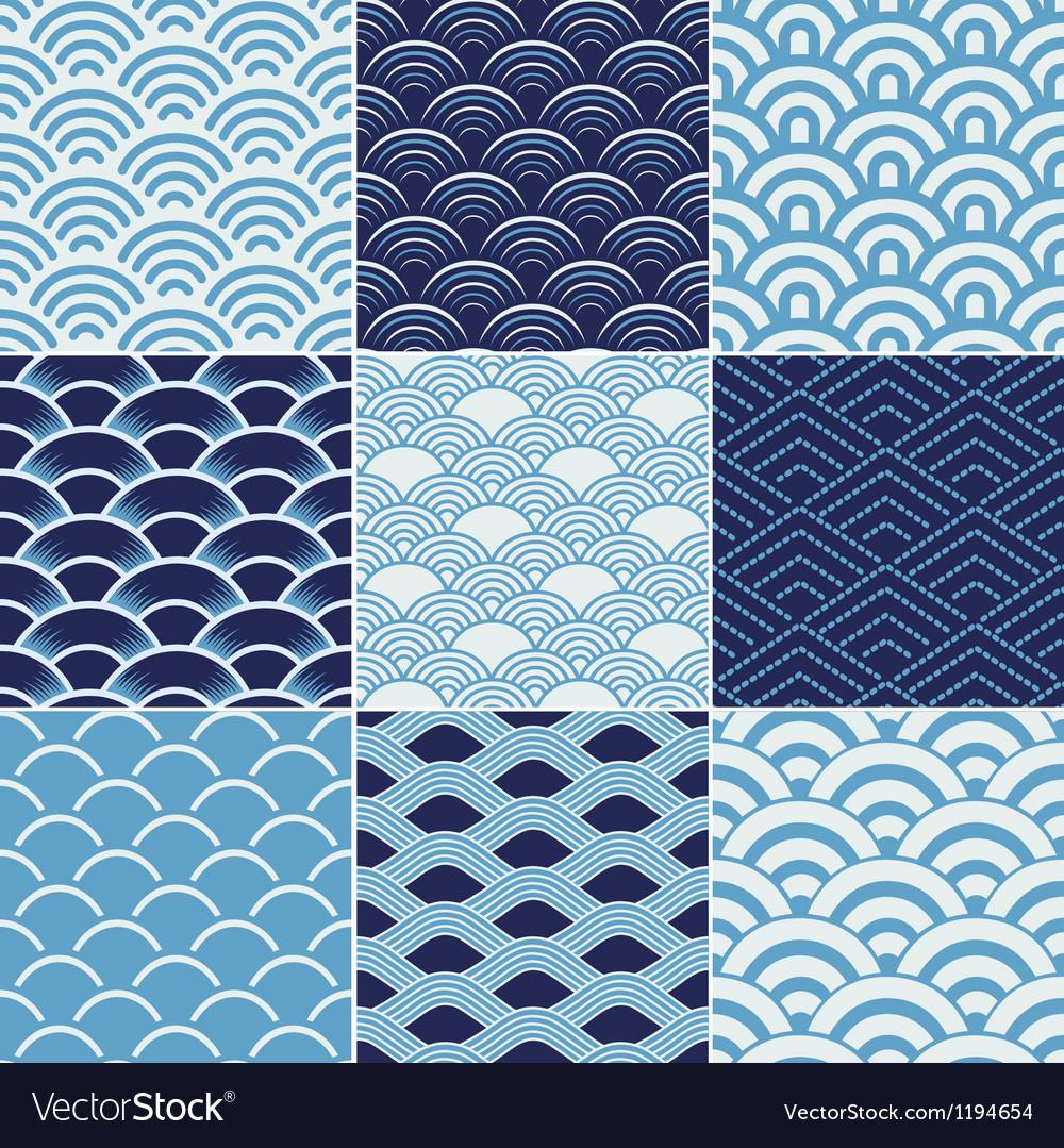 Seamless ocean wave pattern vector | Price: 1 Credit (USD $1)
