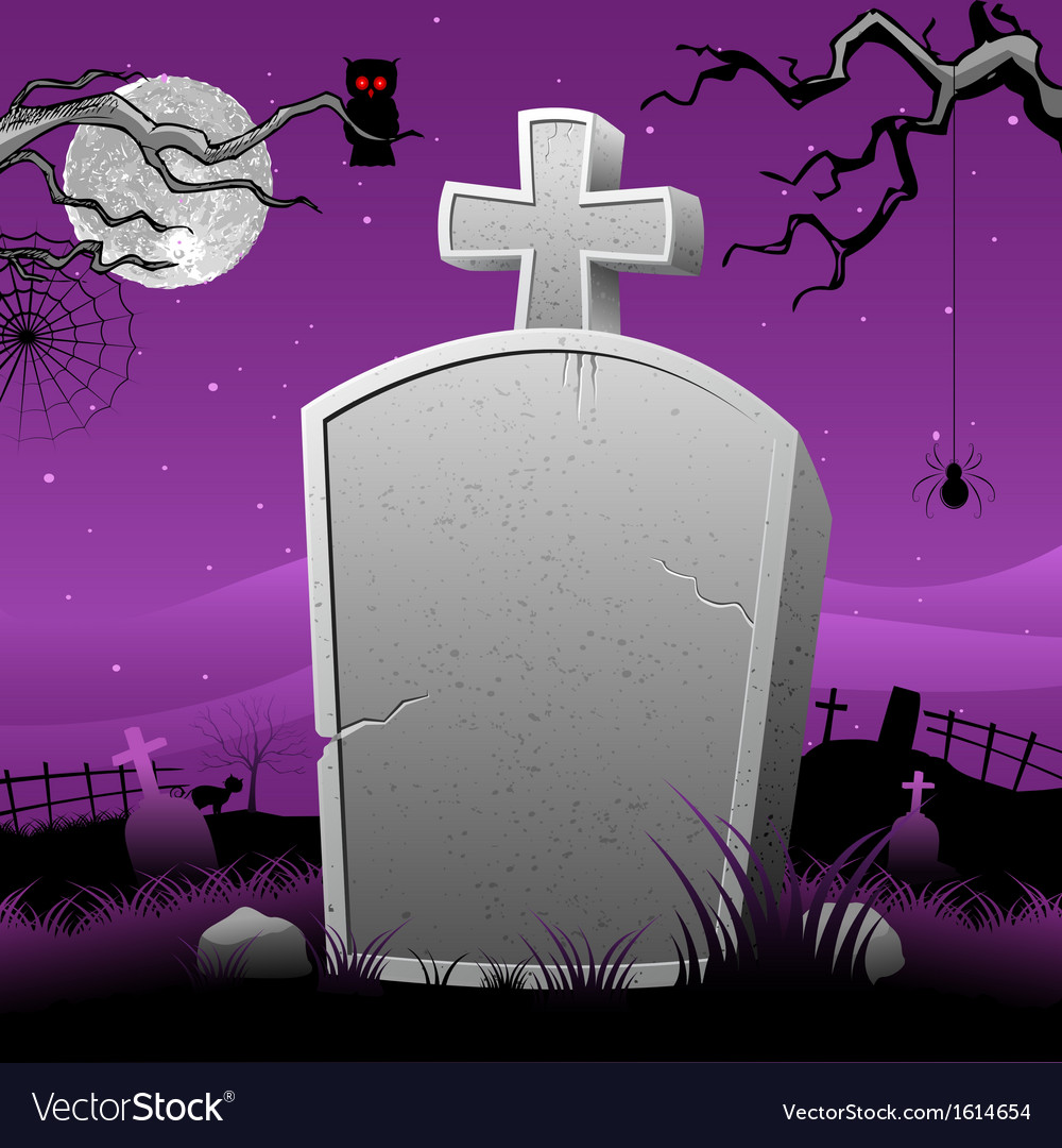 Tomb stone in halloween night vector | Price: 1 Credit (USD $1)