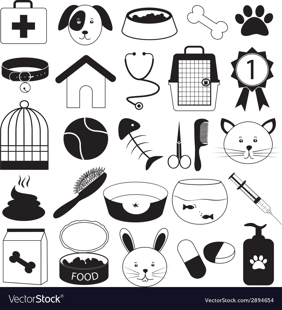 Veterinary clinic and pet icons set vector | Price: 1 Credit (USD $1)