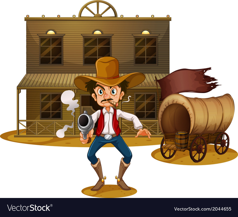 An armed man near the wagon vector | Price: 3 Credit (USD $3)