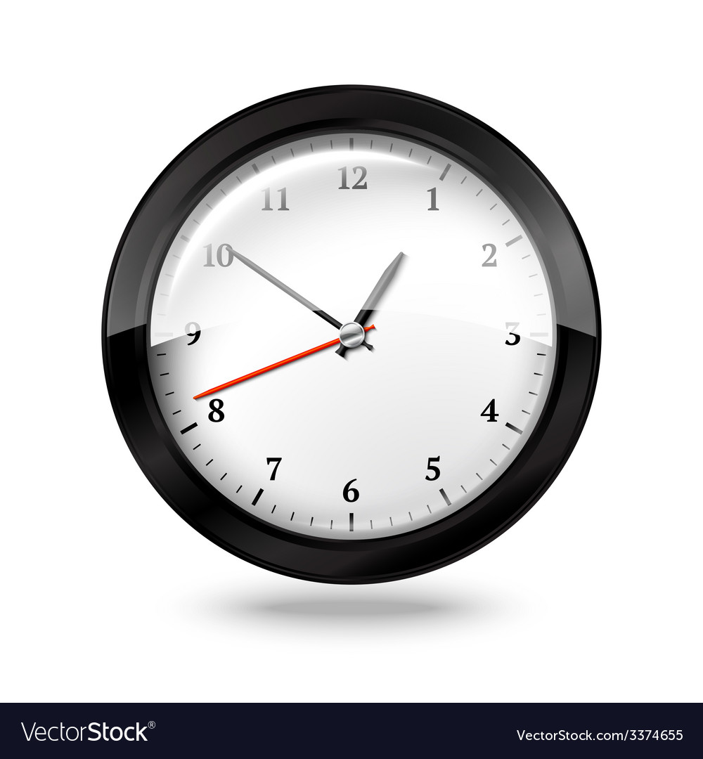 Black office clock isolated on white background vector | Price: 3 Credit (USD $3)