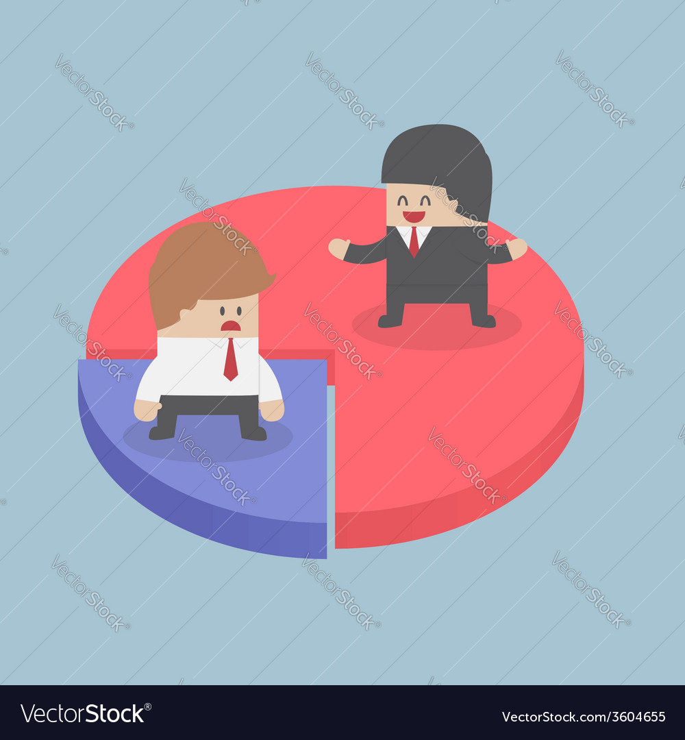Businessmen standing on chart market share concep vector | Price: 1 Credit (USD $1)