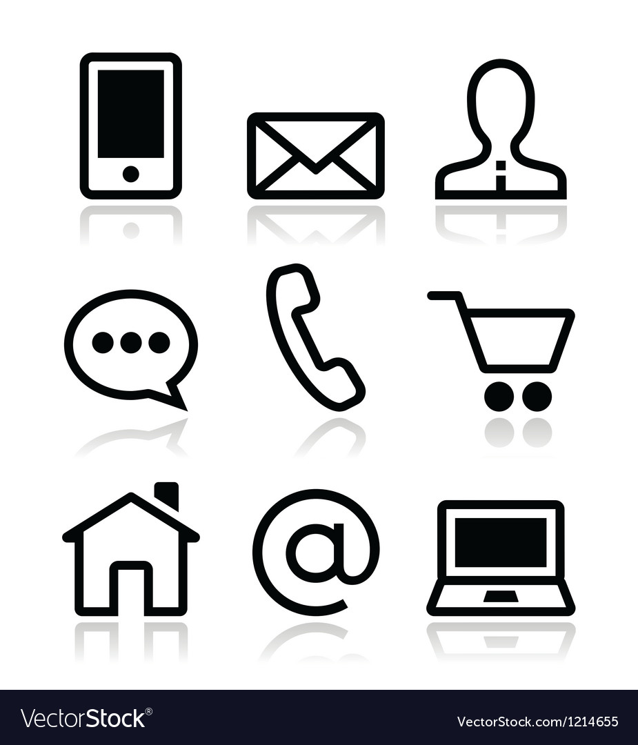 Contact web icons set vector | Price: 1 Credit (USD $1)