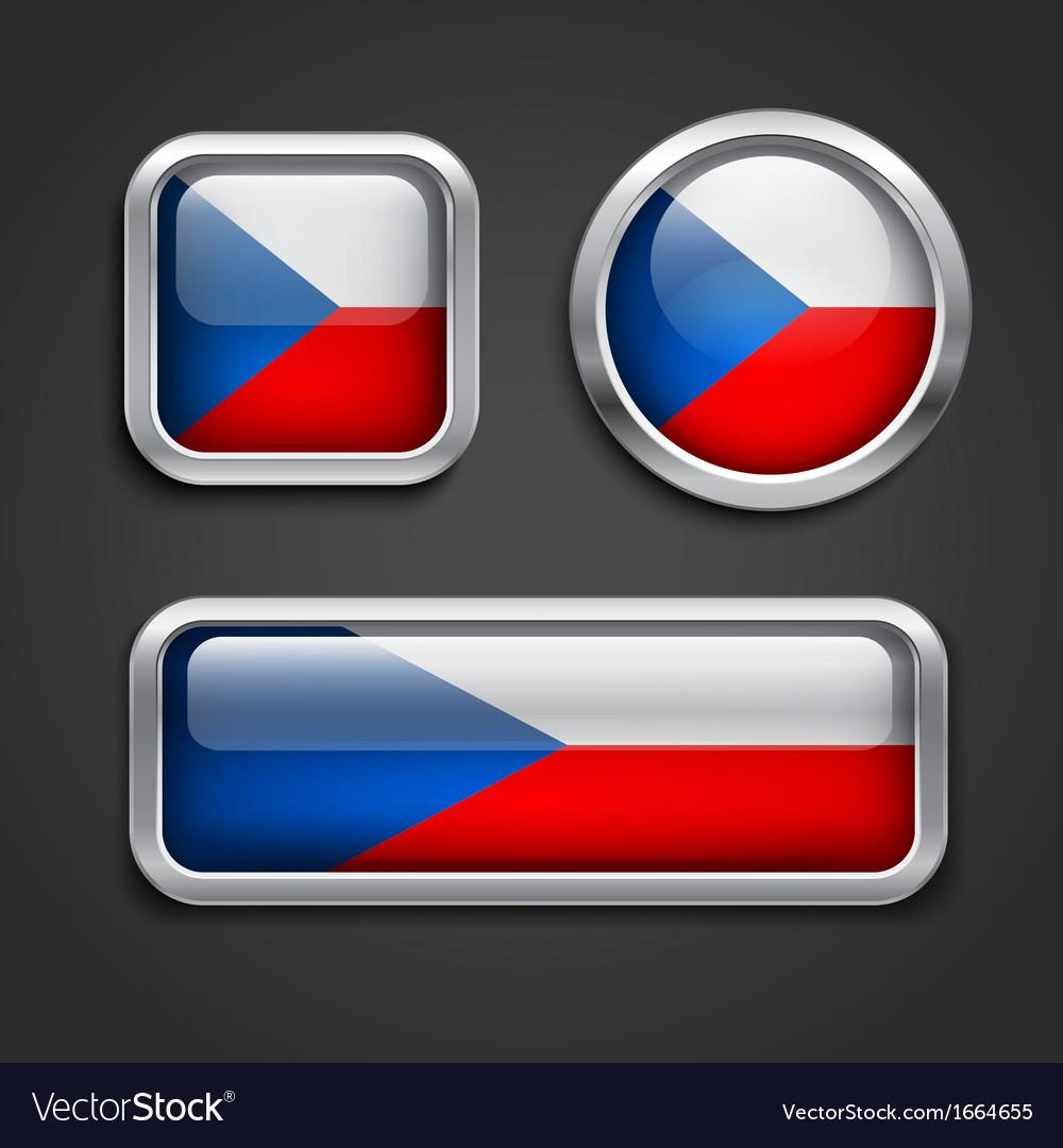 Czech republic flag glass buttons vector   Price: 1 Credit (USD $1)