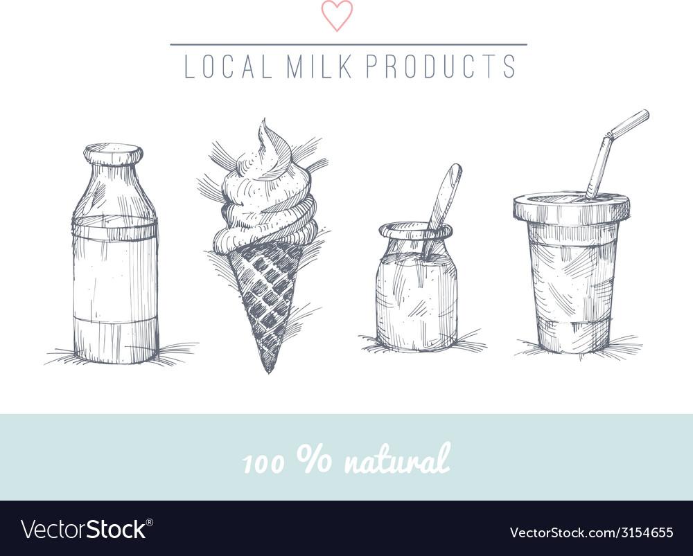 Dairy set vector | Price: 1 Credit (USD $1)