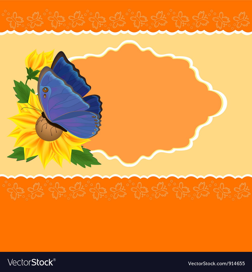 Greetings card with sunflower and butterfly vector | Price: 1 Credit (USD $1)