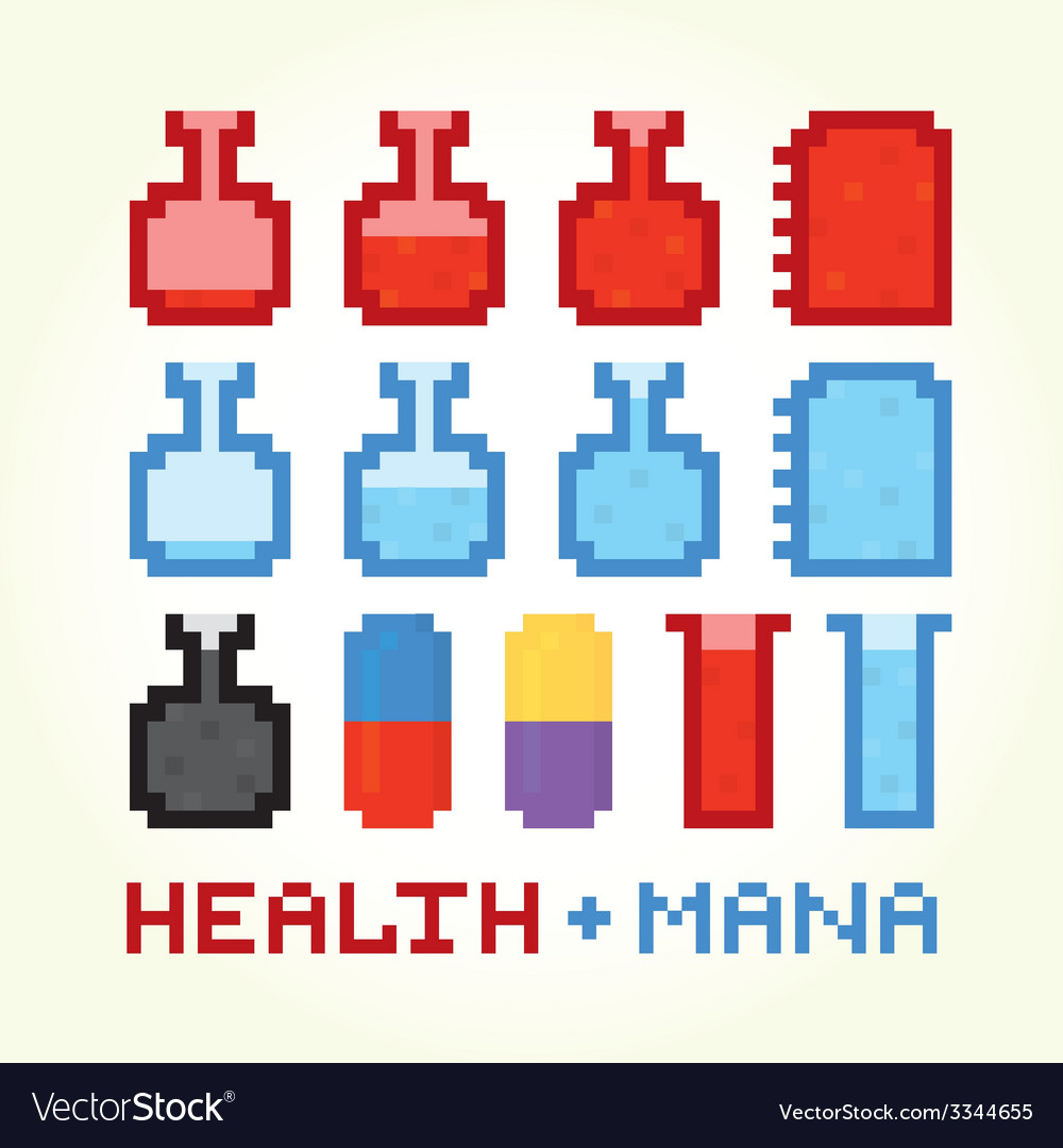 Health and mana icons vector | Price: 1 Credit (USD $1)