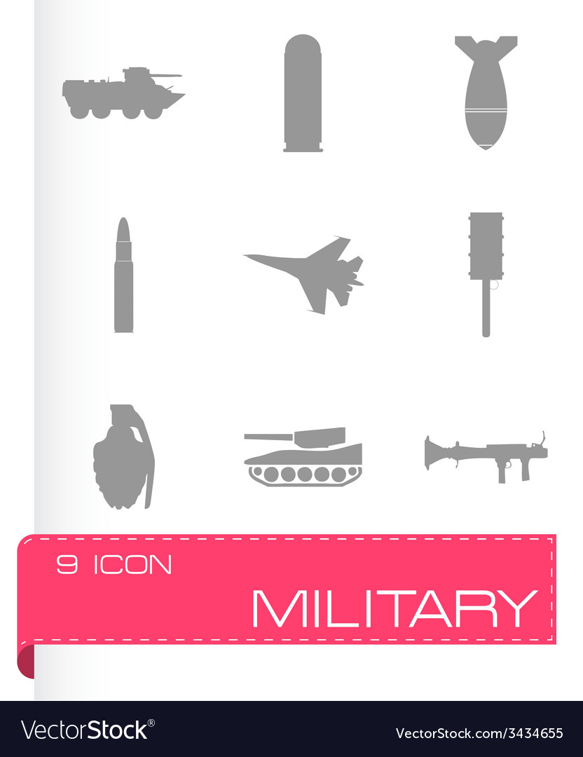 Military icons set vector | Price: 1 Credit (USD $1)