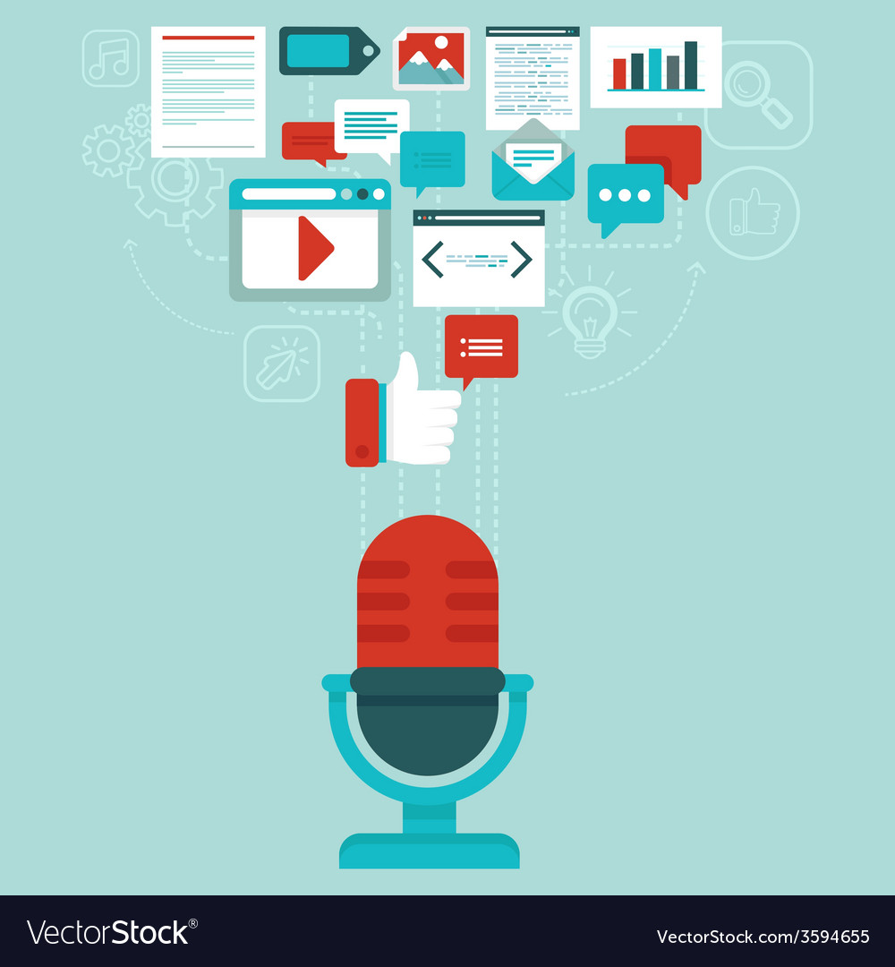 Podcast concept in flat style vector | Price: 1 Credit (USD $1)