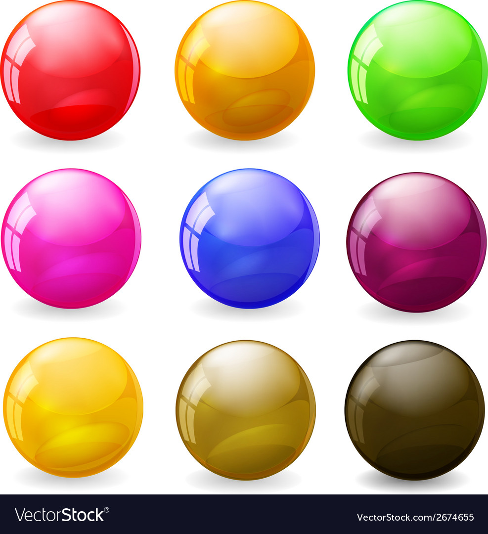 Set of colorful balls on white background vector | Price: 1 Credit (USD $1)