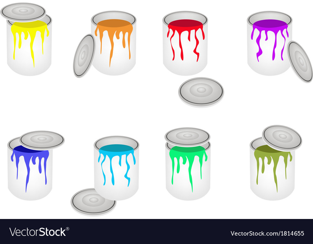 Set of opened buckets with six paint colors vector | Price: 1 Credit (USD $1)