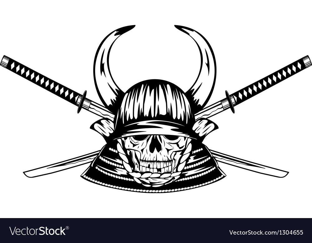 Skull in helmet with horns and samurai sword vector | Price: 1 Credit (USD $1)