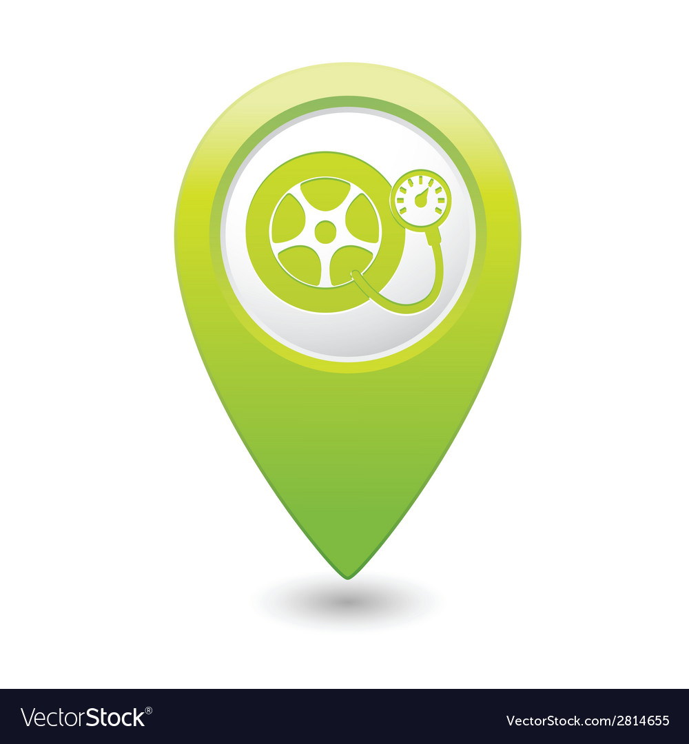 Wheel pump icon green map pointer vector | Price: 1 Credit (USD $1)