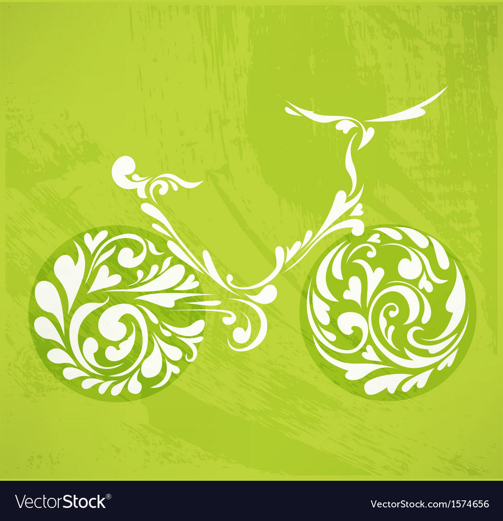 Abstract floral bicycle vector | Price: 1 Credit (USD $1)