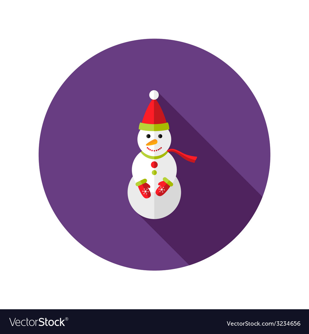 Christmas snowman with santa claus hat flat icon vector | Price: 1 Credit (USD $1)