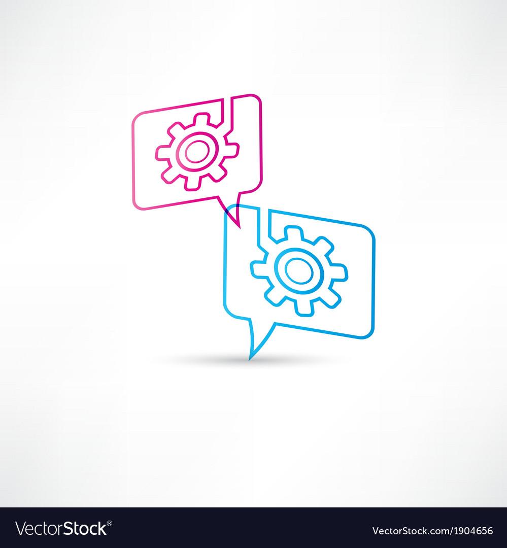 Gear into speech bubbles vector | Price: 1 Credit (USD $1)