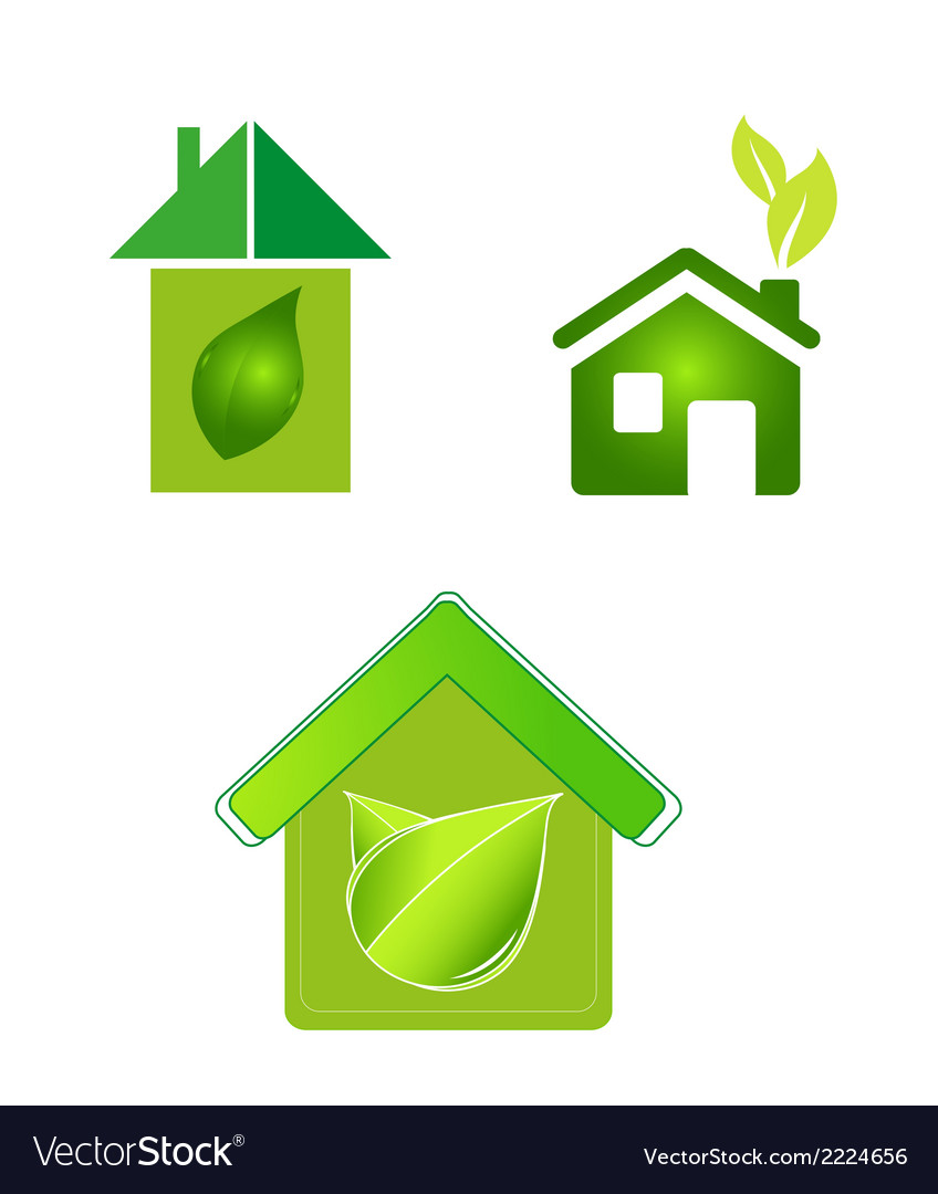 Green eco houses home logo icon vector | Price: 1 Credit (USD $1)