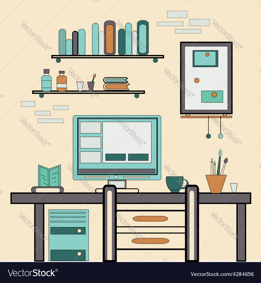 Home workplace flat design workspace for vector | Price: 1 Credit (USD $1)