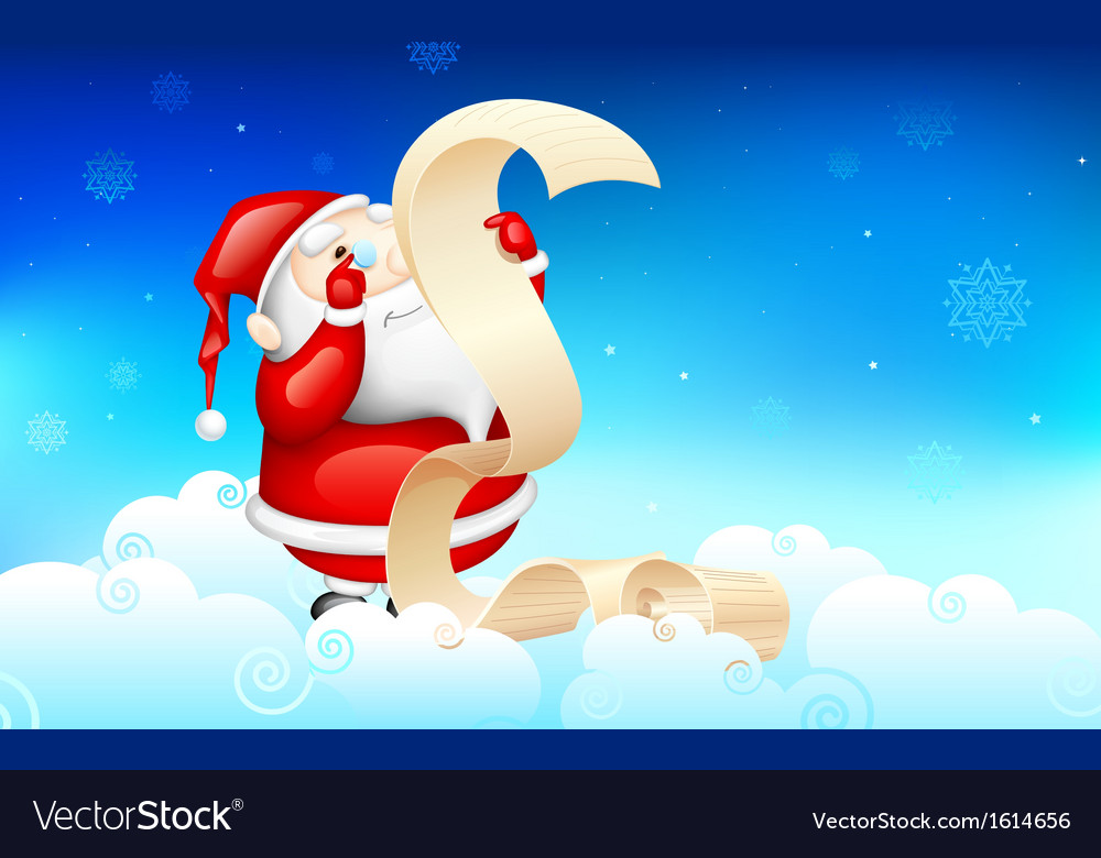 Santa claus reading wish list vector | Price: 1 Credit (USD $1)