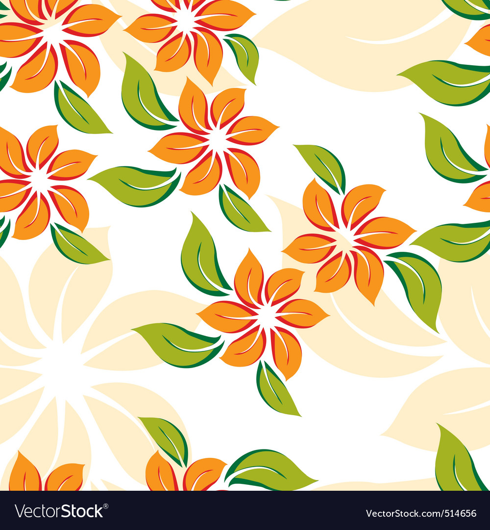 Seamless floral pattern with orange flowers vector | Price: 1 Credit (USD $1)