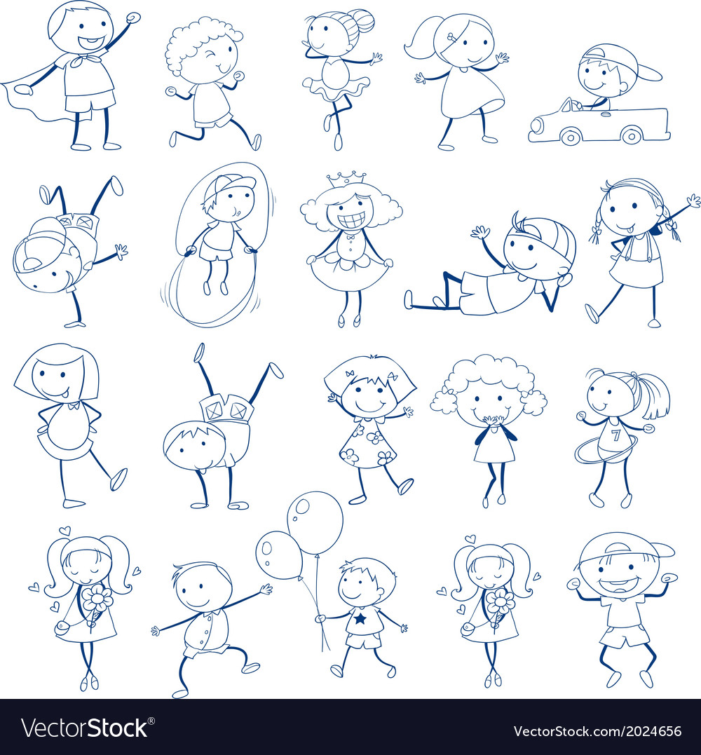 Sketch of kids playing vector | Price: 1 Credit (USD $1)