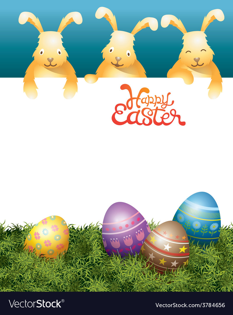 Three bunnies on top and easter eggs vector | Price: 3 Credit (USD $3)