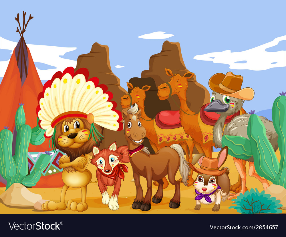 Animals and desert vector | Price: 3 Credit (USD $3)