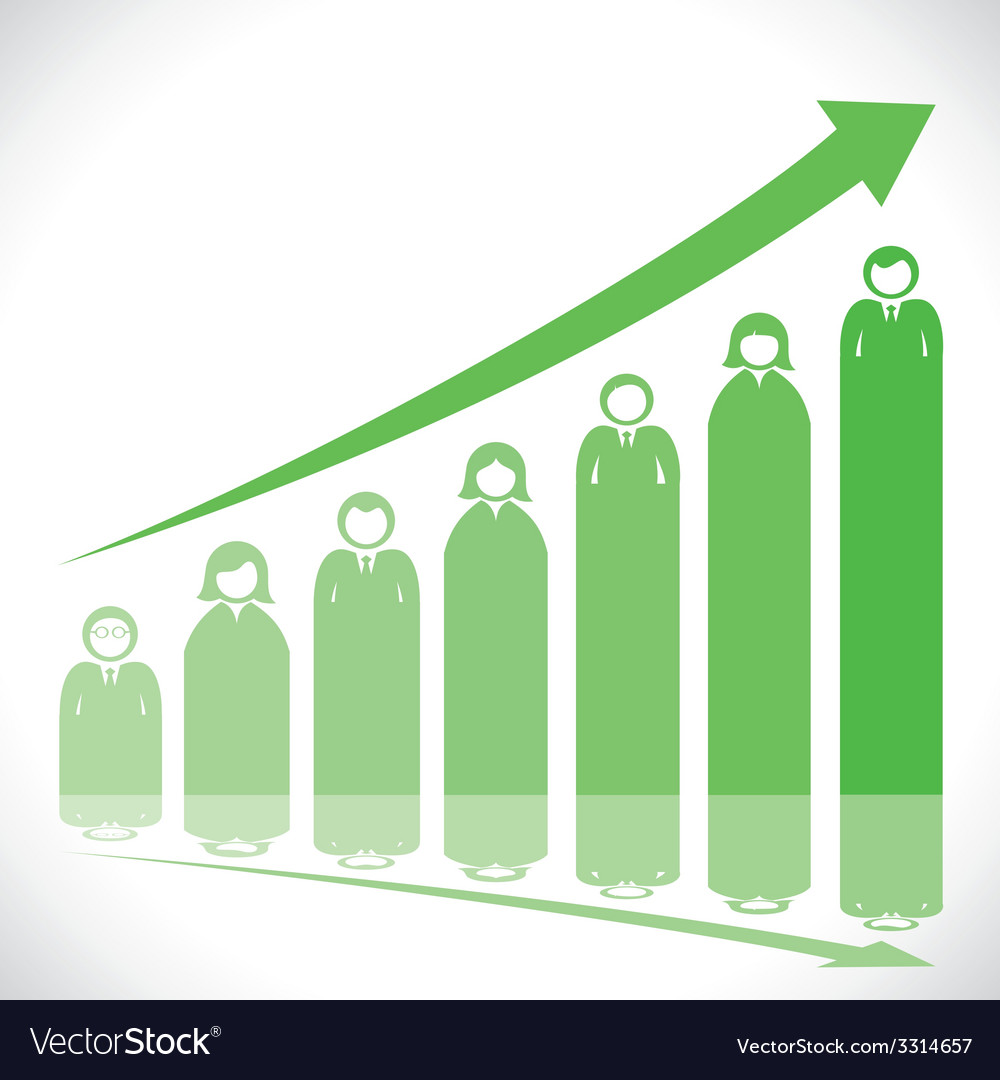 Business people market graph vector | Price: 1 Credit (USD $1)