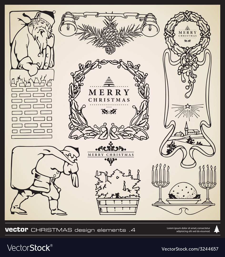 Christmas decorative design elements vector | Price: 1 Credit (USD $1)