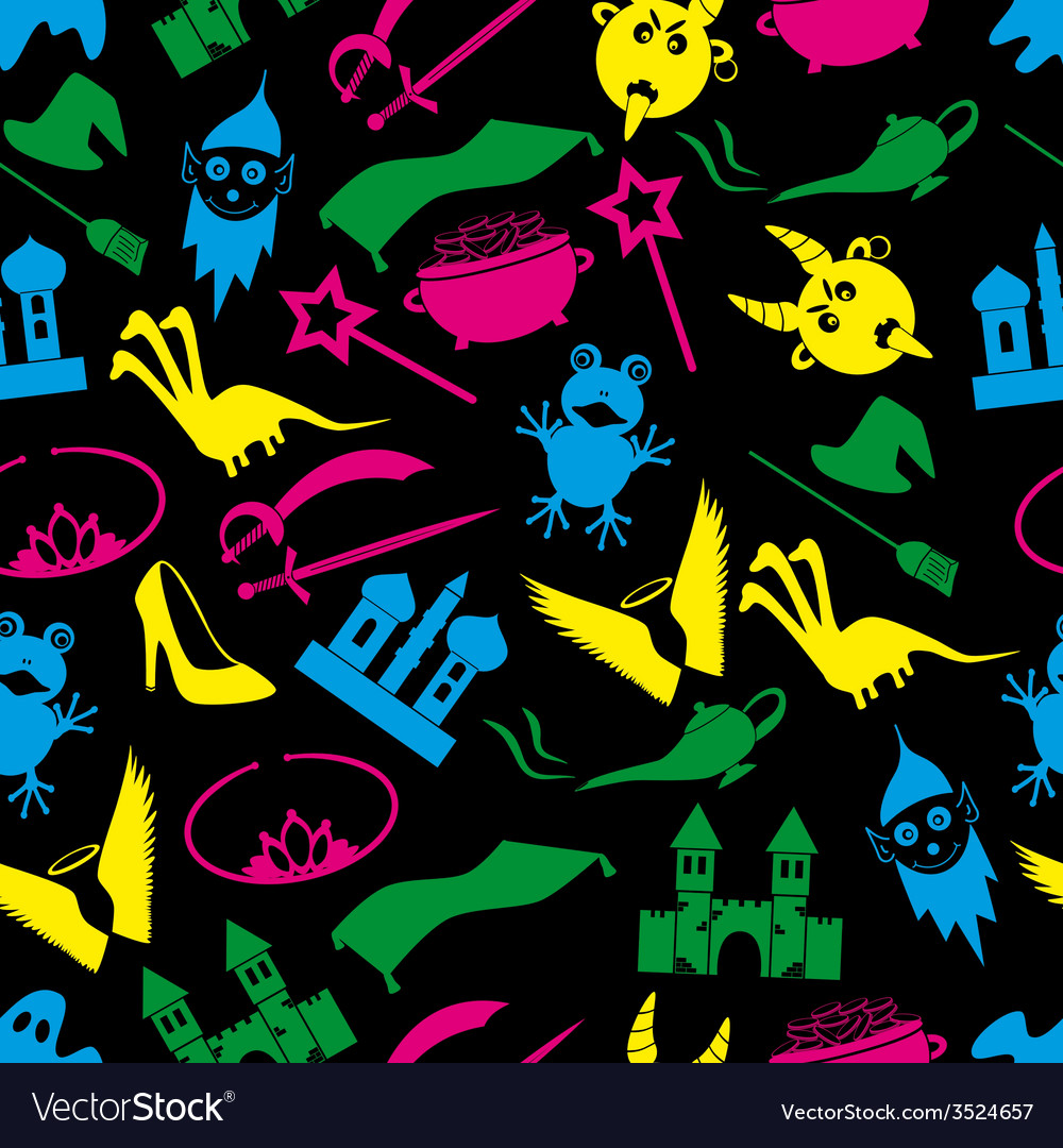 Color fairy tales icons theme seamless pattern vector   Price: 1 Credit (USD $1)