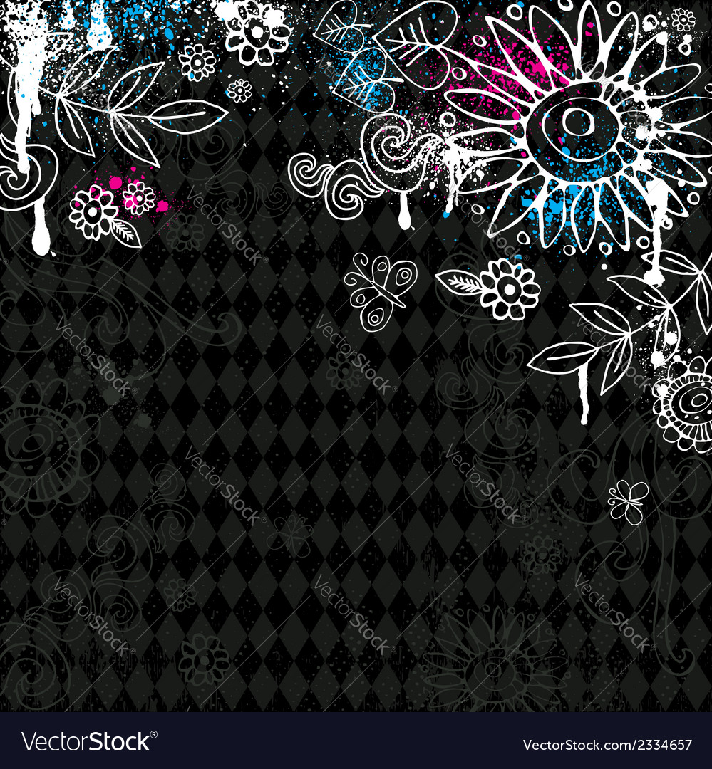 Hand draw flowers on black background vector | Price: 1 Credit (USD $1)