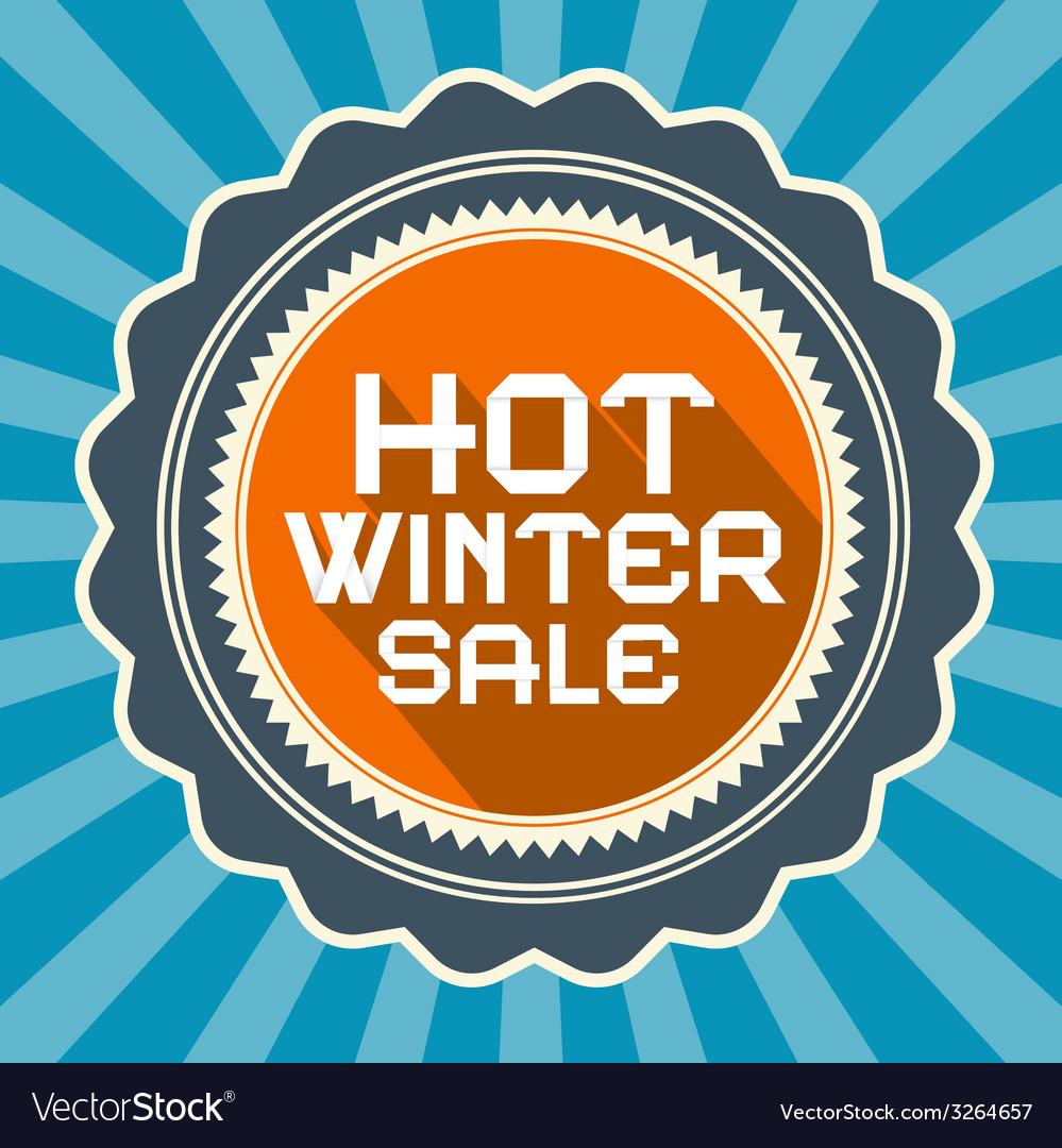 Hot winter sale retro blue background vector | Price: 1 Credit (USD $1)