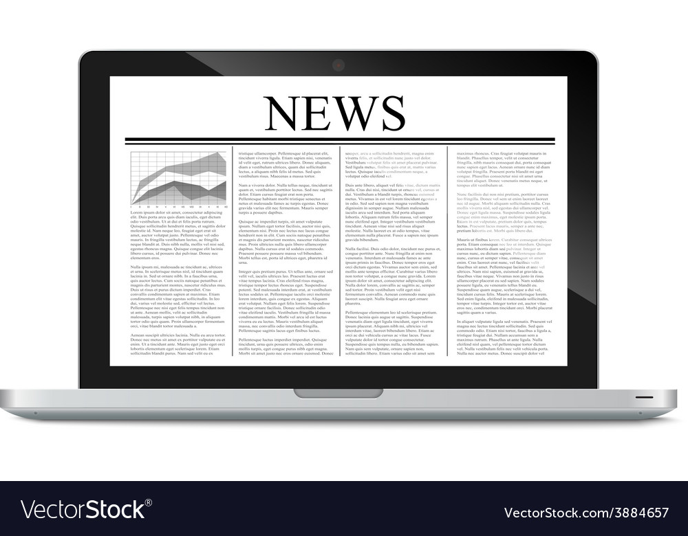 Laptop with news article on screen vector | Price: 1 Credit (USD $1)