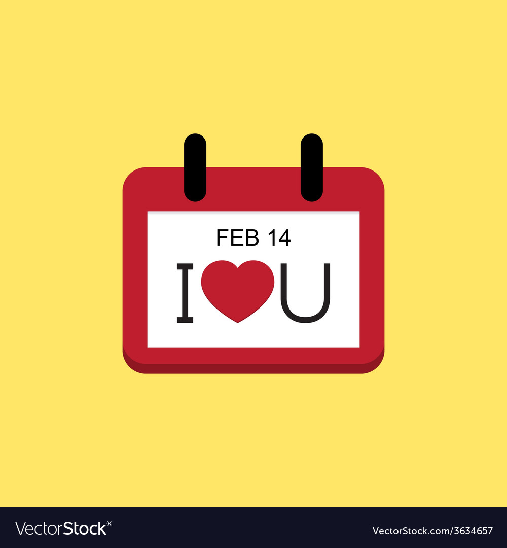 Love valentine day calendar vector | Price: 1 Credit (USD $1)
