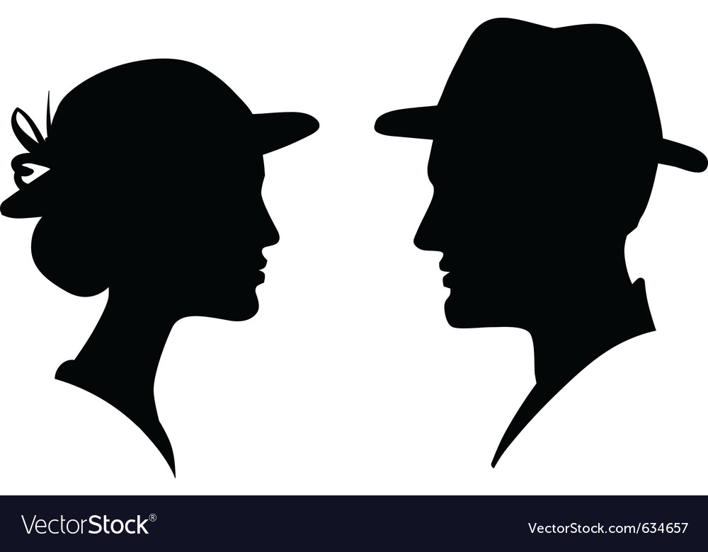 Man and woman profile silhouette vector | Price: 1 Credit (USD $1)