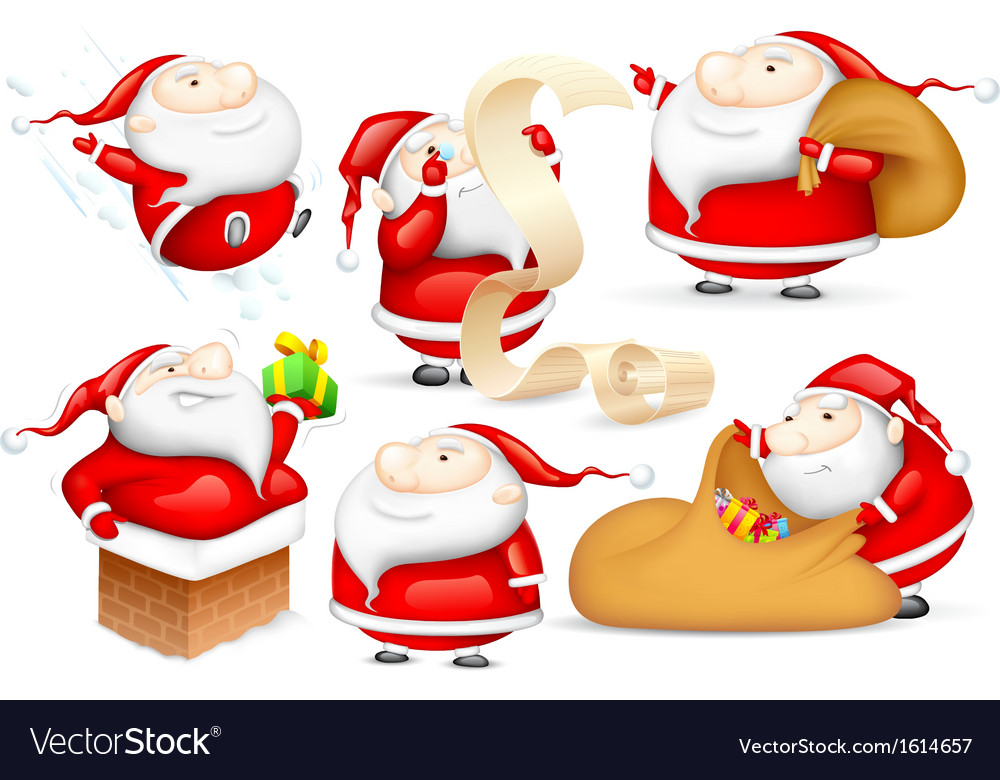 Santa in different mood vector | Price: 1 Credit (USD $1)