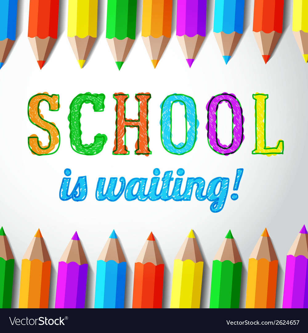 School is waiting - hand drawn lettering with vector | Price: 1 Credit (USD $1)