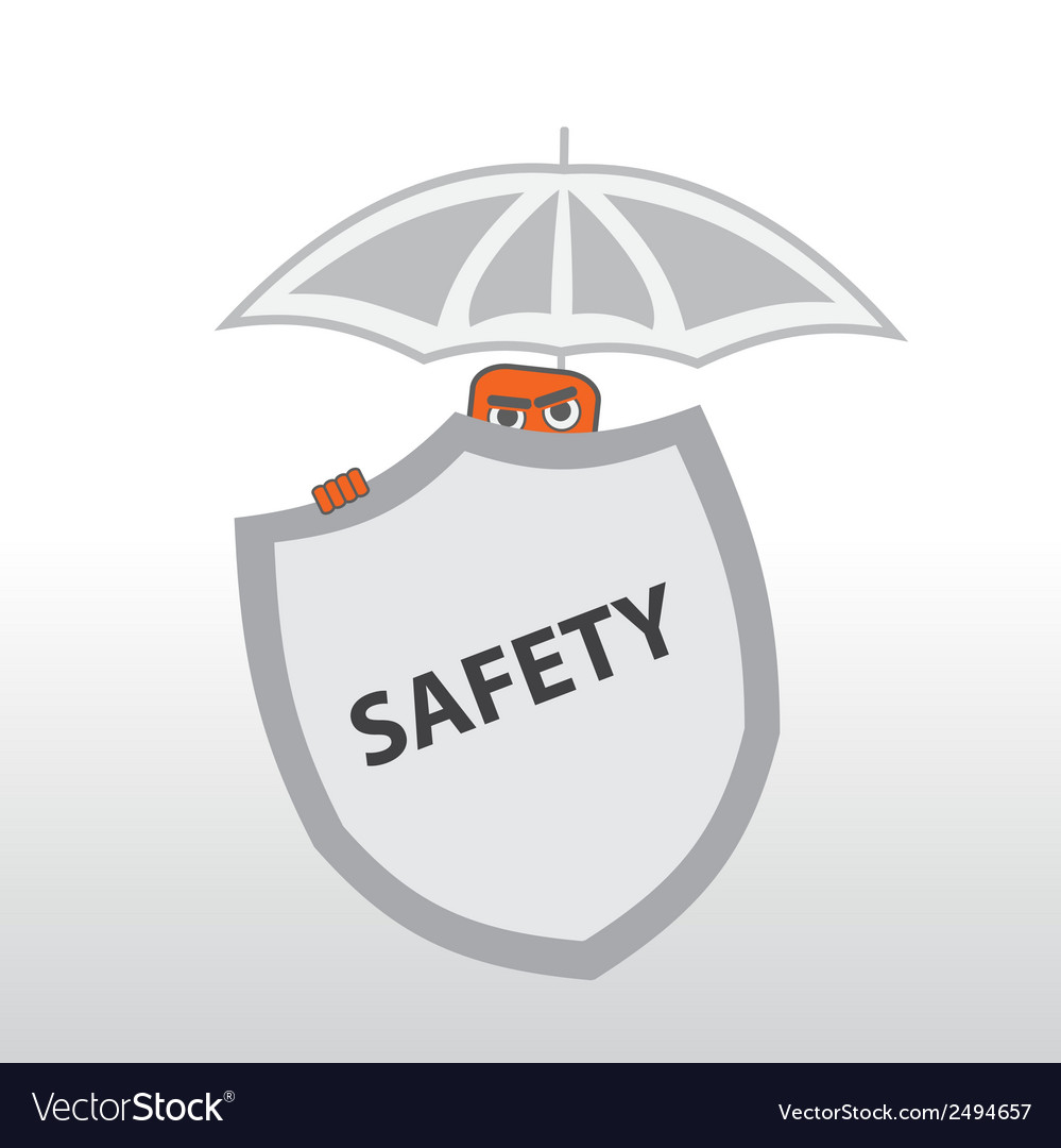 Security behind a shield and under the umbrella vector | Price: 1 Credit (USD $1)