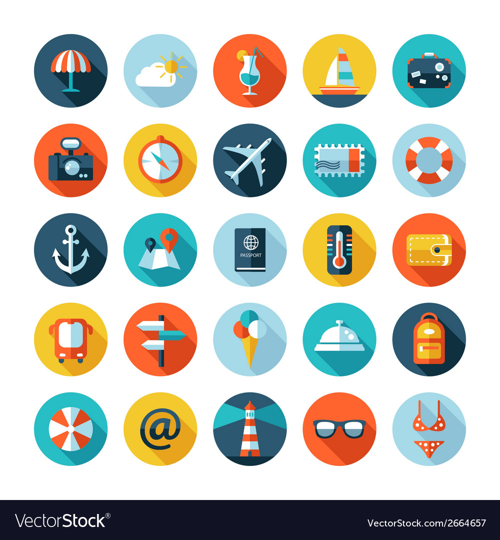Set of travel flat design icons with long shadows vector | Price: 1 Credit (USD $1)