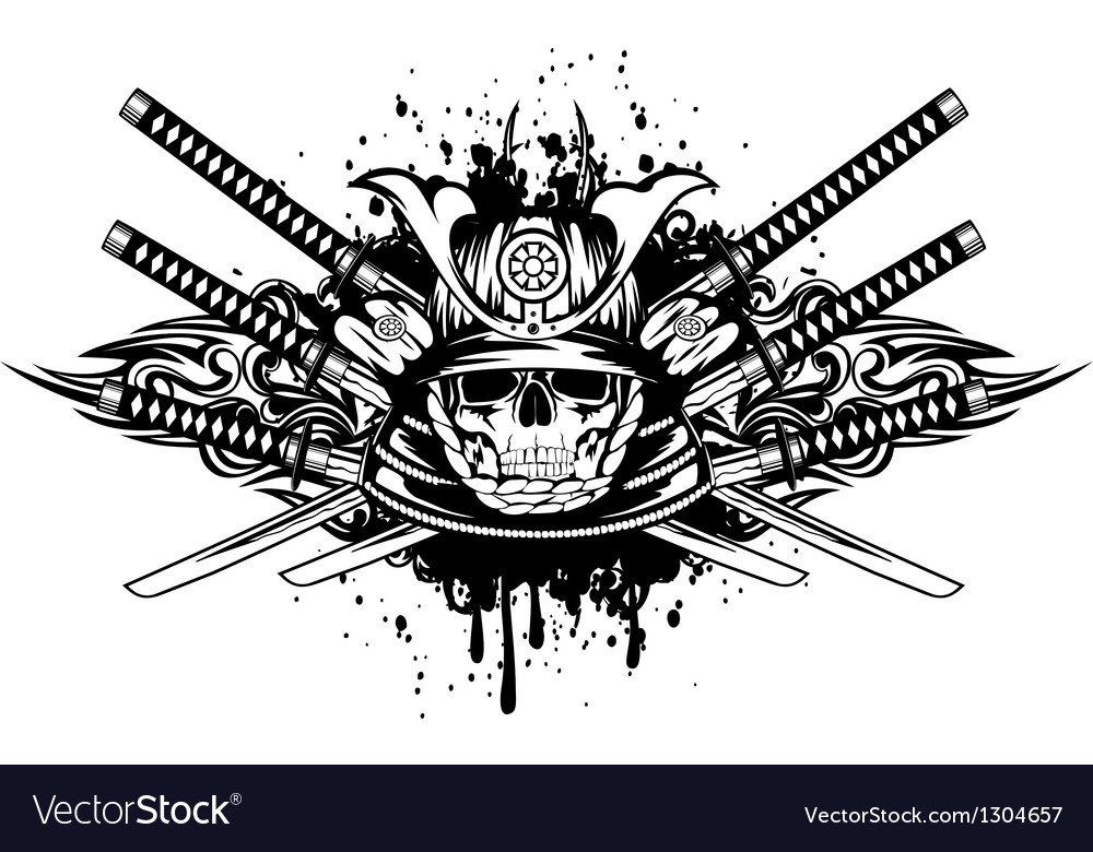Skull in samurai helmet and crossed samurai swords vector | Price: 1 Credit (USD $1)