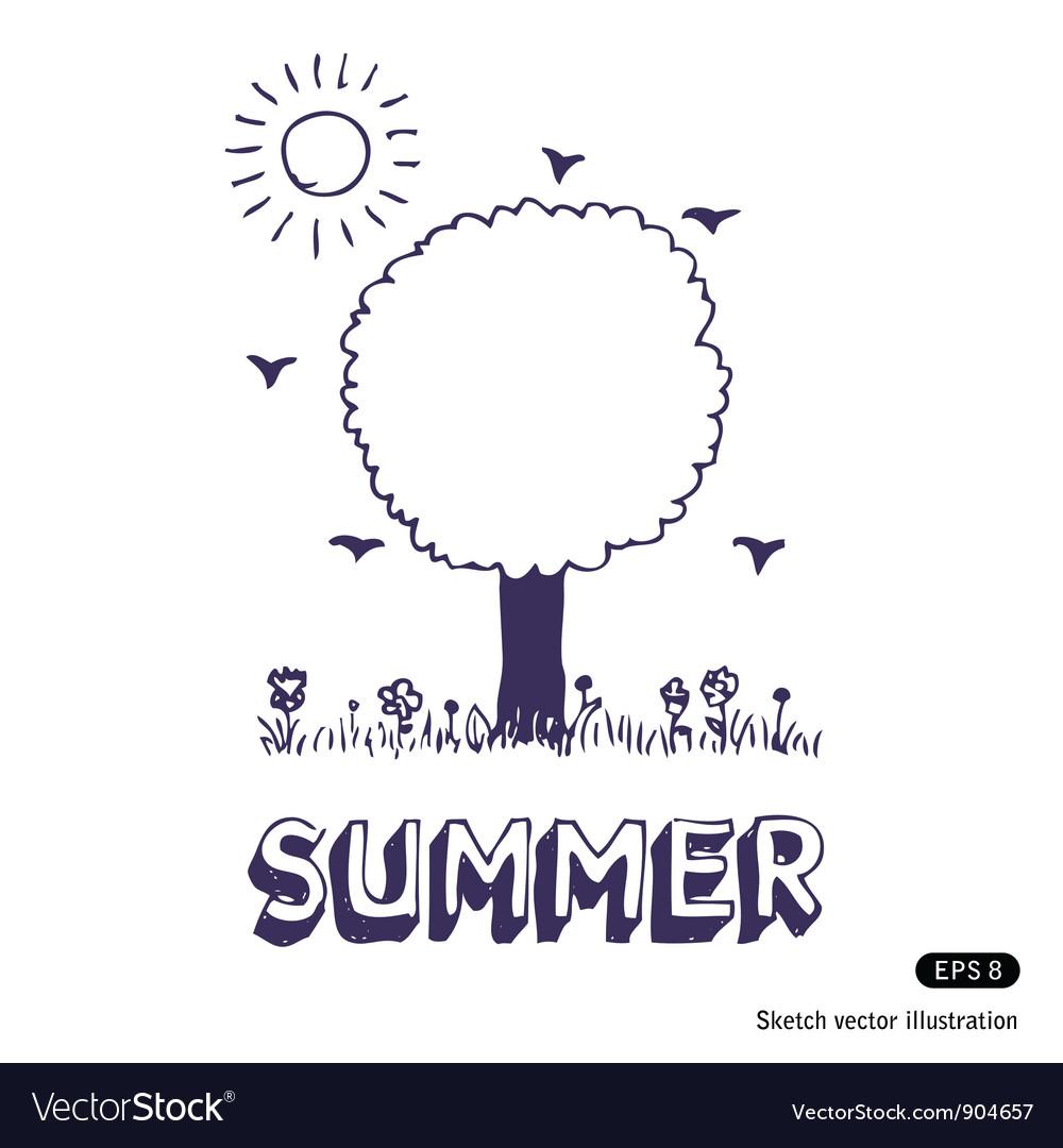 Summer tree vector | Price: 1 Credit (USD $1)