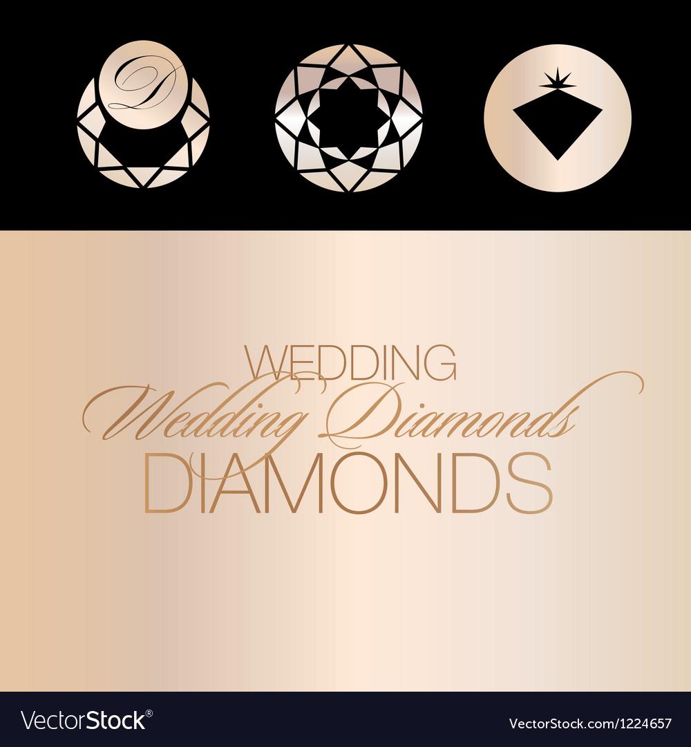 Wedding diamonds icons vector | Price: 1 Credit (USD $1)