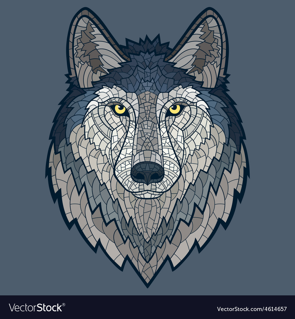 Wolf head mascot mosaic isolated vector   Price: 1 Credit (USD $1)
