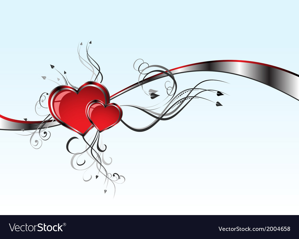 2 hearts and valentins day vector | Price: 1 Credit (USD $1)