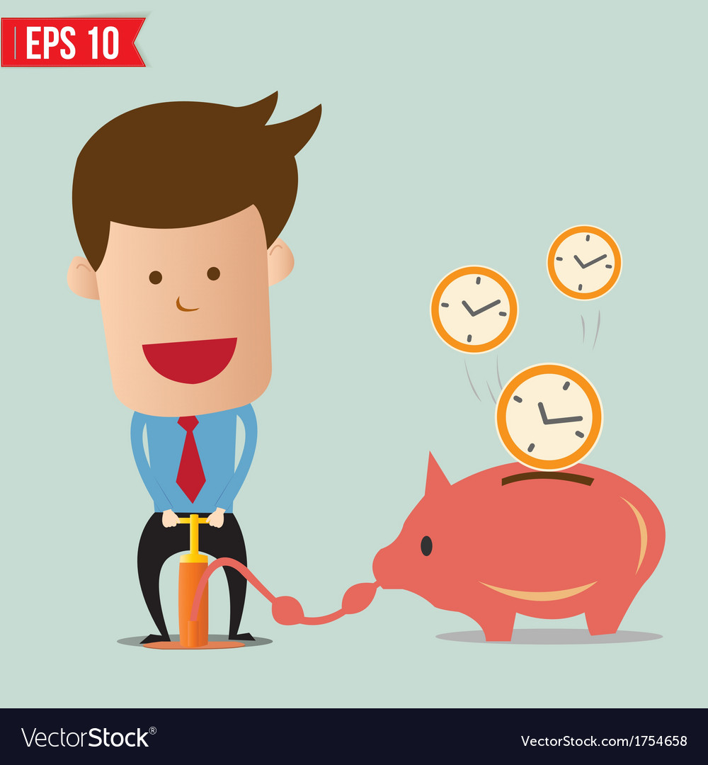 Business man pump time - - eps10 vector | Price: 1 Credit (USD $1)